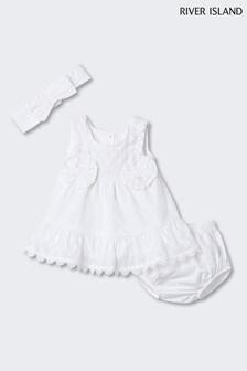 River Island米色褶邊織紋罩衫式連衣裙