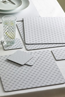 格紋印花餐墊和杯墊4件組