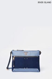 River Island Blue Soft Monogram Messenger Bag