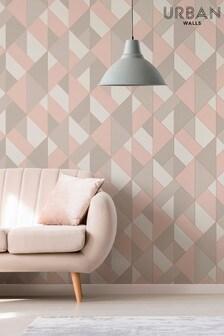 Urban Walls Pink Structured Geo Wallpaper