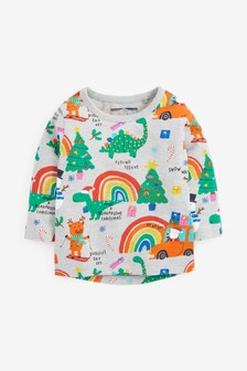 Long Sleeve Christmas Rainbow Jersey T-Shirt (3mths-7yrs)