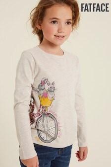 Tričko prírodnej farby FatFace Naturalso zajačikmi na bicykli