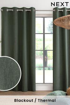 Green Cotton Eyelet Blackout/Thermal Curtains