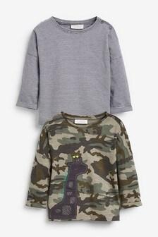 Набор из 2 футболок с жирафовым камуфляжным принтом (0 мес. - 2 лет)