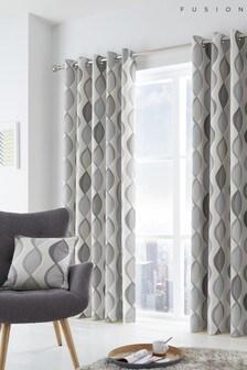 Fusion Grey Lennox Cotton Eyelet Curtains