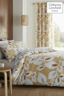 Catherine Lansfield Gold Inga Leaf Duvet Cover and Pillowcase Set