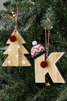 Set de 2 bolas de Navidad con diseño de abecedario en color natural