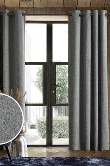 Grey Soft Marl Eyelet Super Thermal Curtains