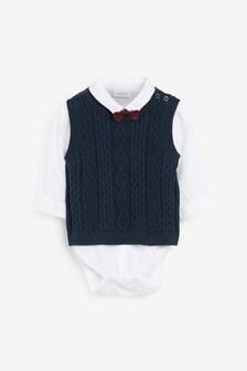 Вязаный жилет, боди-рубашка и галстук-бабочка (комплект) (0 мес. - 2 лет)