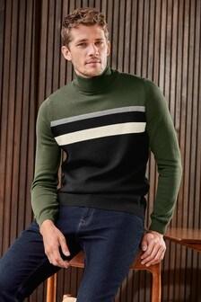 Večbarven pulover z zavihanim ovratnikom