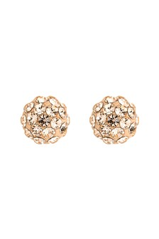 Rose Gold Plated Diamanté Ball Stud Earrings