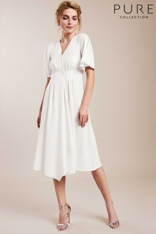Pure Collection White V-Neck Soft Crepe Dress