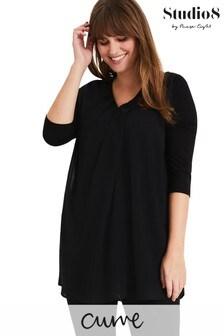 חולצה עם שרוול ג׳רזי מדגם Mabel בשחור של Studio 8