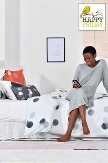 Happy Friday Grey Shine Confetti Duvet Cover and Pillowcase Set