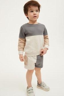 Трикотажный джемпер с круглым вырезом в стиле цветных блоков и шорты (комплект) (3 мес.-7 лет)