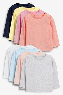 מארז שמונה חולצות עם שרוולים ארוכים (3 חודשים עד גיל 7)