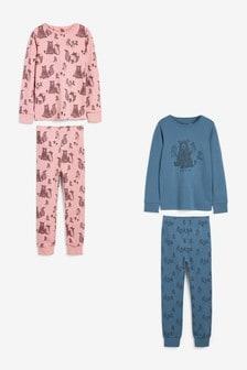 2 Pack Woodland Bear Pyjamas (3-16yrs)