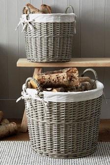 Set of 2 Lined Wicker Log Baskets