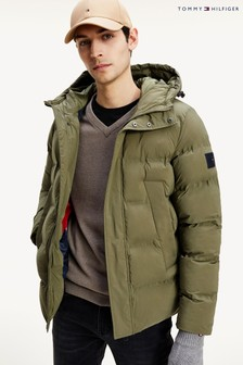 Tommy Hilfiger Green Hooded Stretch Bomber Jacket
