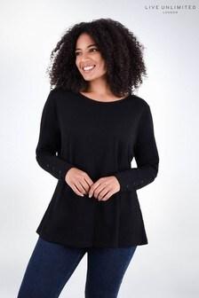 חולצתטי מכותנה שלLive Unlimited עם צווארוןמעוגל בשחור