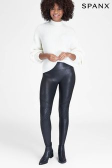 SPANX® Black Quilted Faux Leather Leggings