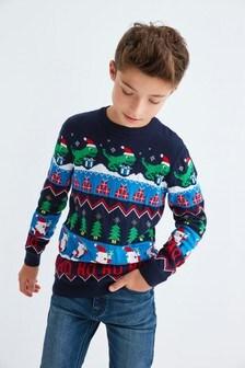 Джемпер с рождественскими узорами фер-айл и динозавром (3-16 лет)