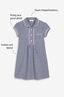 Платье в клеточку на пуговицах (3-16 лет)