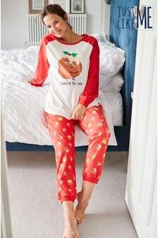 Matching Family zwangerschapspyjama met puddingprint