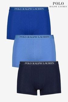 מארז שלושה תחתוני בוקסר בכחול/כחול כהה שלPoloRalph Lauren
