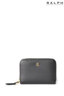 Ralph Lauren Black Pebble Leather Zip Purse