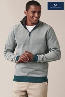 Crew Clothing Company綠色Birdseye半拉鍊運動衫