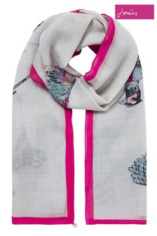 Joules Silver Julianne Wool Rectangle Scarf