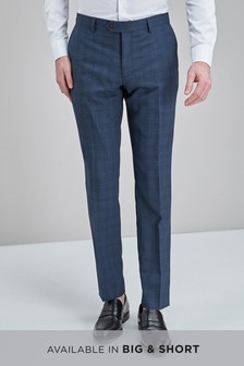 Check Wool Mix Slim Fit Trousers