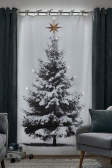 Light Up Christmas Tree Print Tie Top Curtain Panel