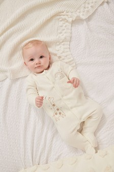 Giraffe Embroidered Velour Sleepsuit (0-18mths)