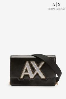 Čierna kabelka cez telo s logom Armani Exchange Isabel