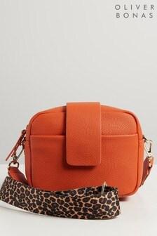 Оранжевая сумка для камеры с леопардовым принтом и длинным ремешком Oliver Bonas Emilia