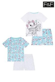 F&F Blue Marie Big Bow Pyjamas Two Pack