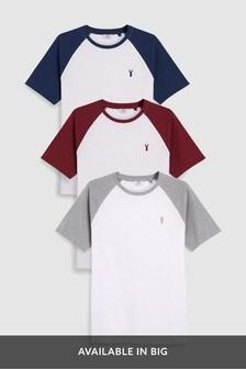 Set van drie gekleurde T-shirts met raglanmouwen