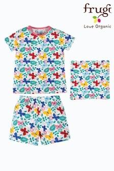 Frugi White Floral Organic Cotton 3 Piece Pyjama Set