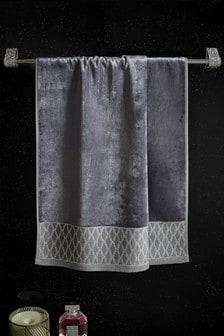 Silver Geo Velour Towel