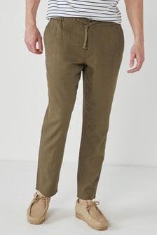 Elasticated Waistband Linen Blend Trousers