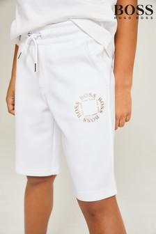 BOSS White Logo Shorts