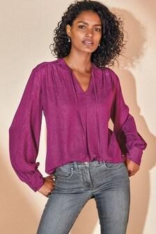 Жаккардовая блузка с завязкой на шее и узором пейсли