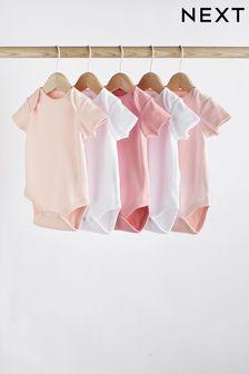 מארז 5 בגדי גוף עם שרוולים קצרים מכותנה אורגנית מאושרים על ידי GOTS (0 חודשים-3 שנים)