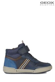 Geox Junior Boy/Unisex Poseido Navy/Brown Velcro Sneakers