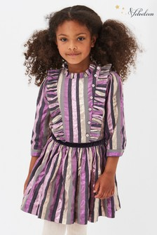 Velveteen Purple Evelyn Frill Collar Party Dress