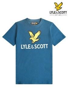 تي شيرت أزرق بشعار نسر منLyle & Scott