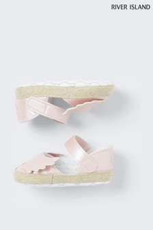 River Island Pink Shimmer Angel Wing Sandals