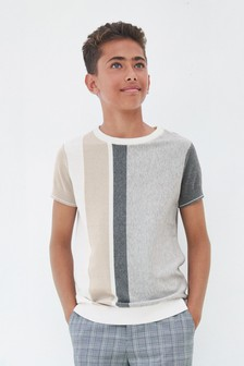 Knitted Vertical Stripe T-Shirt (3-16yrs)